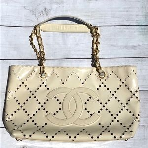 CHANEL Perforated CC Patent With Make Up Pouch